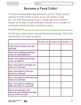 What's in Your Food? Lesson Plans Grade 5