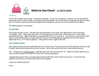 What's in Your Purse?  UR/IR Game