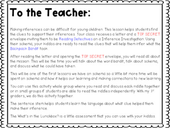 What's in the Backpack: A Back to School Inference Mission