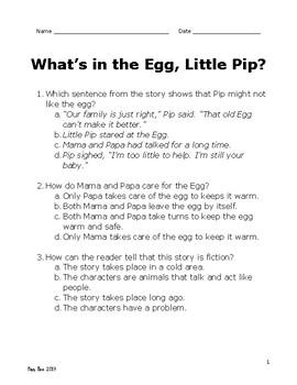 What's in the Egg, Little Pip Comprehension Test Pearson MyView