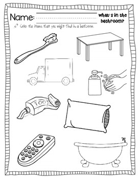 What's in the bathroom? What's in a kitchen? Sort, Color, Cut, and Paste Pages