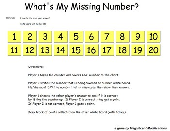 What's my Missing Number?  (Digits to 20)