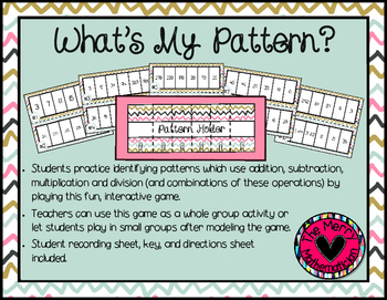 What's my Pattern? Numerical Pattern Math Station Activity/Game