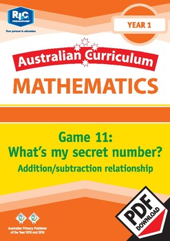 What's my secret number? Addition/subtraction relationship – Year 1