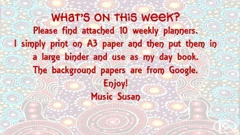 What's on this Week? Teaching planner