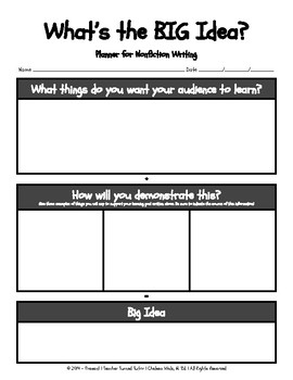 What's the BIG Idea? [Graphic Organizer for Analyzing & Writing Texts]