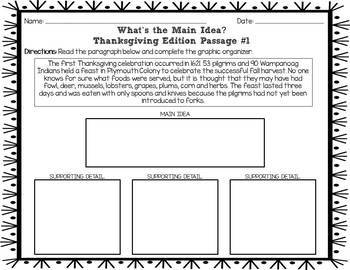 What's the Main Idea? Thanksgiving Edition (Main Idea and Details)