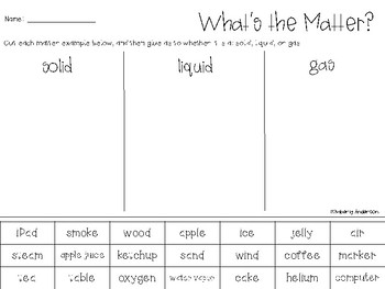 What's the Matter? Solid, Liquid, Gas Color Code and Sort!!