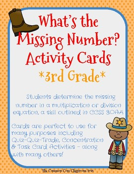 What's the Missing Number? 3.OA.4-3rd Grade- Quiz Quiz Trade - Concentration