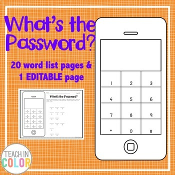 What's the Password? Sight Word Activity with EDITABLE version