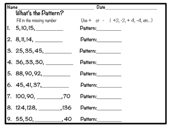 What's the Pattern? Freebie