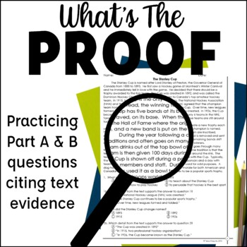 Text Evidence Reading Passages with Part A Part B Questions Test Prep