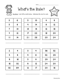 What's the Rule?  Math In Out Boxes and Number Patterns--3 sheets!