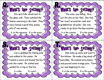 Setting Task Cards - Using Inference Skills