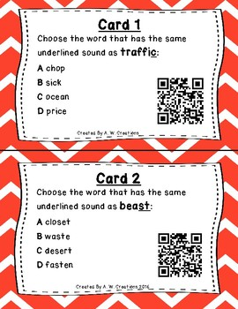 What's the Sound? QR Code Task Cards Set 1 IREAD PHONICS