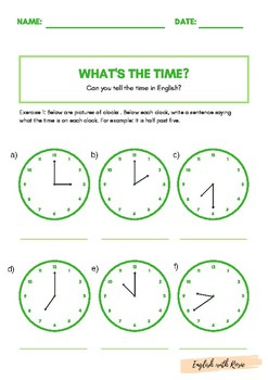 What's the Time? Telling the time Practice
