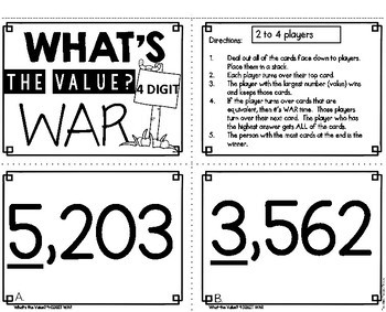 What's the Value (4 Digit) War Game