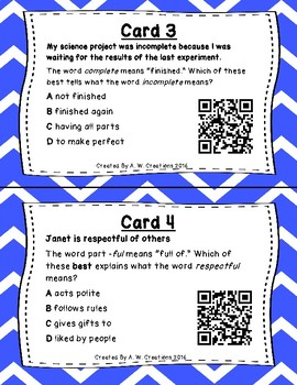 What's the Word Part? QR Code Task Cards Set 1 IREAD PHONICS