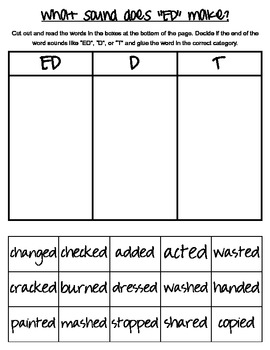 "What sound does ""ed"" make? Past tense verbs cut and paste/ coloring sheets"