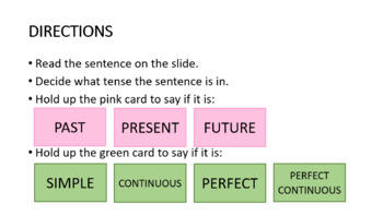 What tense is it? Classroom card game to practice identifying English tenses