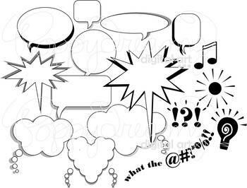 What the Hey?!? Speech and Thought Bubble Clipart by Poppydreamz