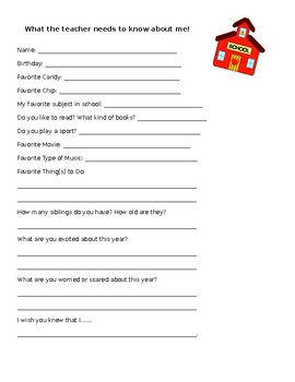 What the teacher knows needs to know about me!