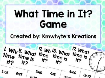 Telling Time The 5 Minutes Game & Worksheets | Teachers Pay