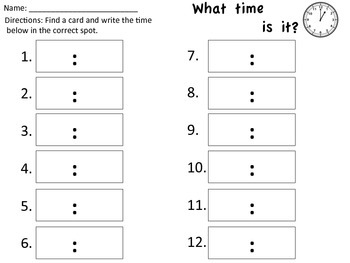 What time is it? Write the Room-time by the hour