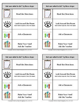 Visual Support Prompt Card for Behavior-What to do Next