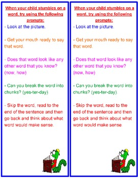 Parent Resource- What to Do When Your Child Gets Stuck on a Word Bookmark