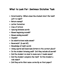 What to Look for in a Sentence Dictation Task
