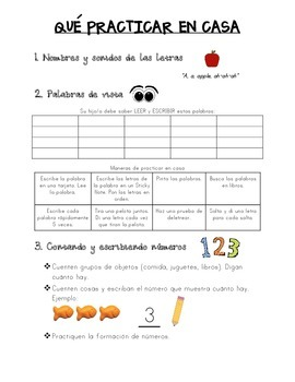 What to Practice at Home Parent Note English/Spanish