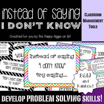 """Instead of Saying """"I Don't Know"""" Poster Set (B&W and Rainbows)"""