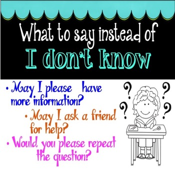 "What to Say Instead of ""I Don't Know"" Posters"