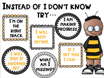 """What to Say Instead of """"I Don't Know"""" Posters with Bumblebee Bee Theme"""