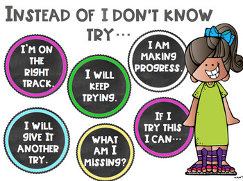 """What to Say Instead of """"I Don't Know"""" Posters with Colorful Kid Theme"""