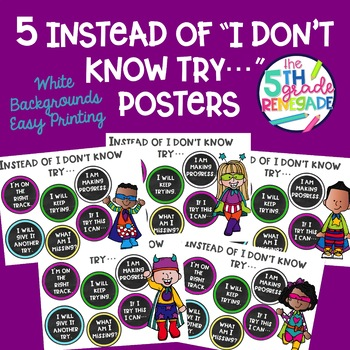 "What to Say Instead of ""I Don't Know"" Posters with Superhero Theme"