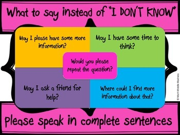 "What to Say Instead of ""I Don't Know"" poster- Bright Colors"