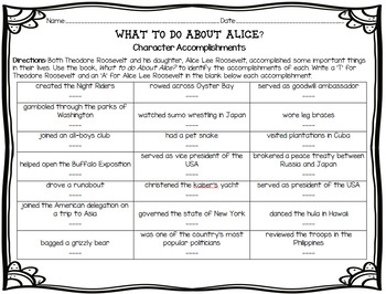 What to do About Alice? by Barbara Kerley Character Accomplishments