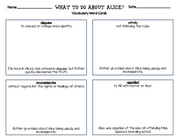 What to do About Alice? Vocabulary Word Cards