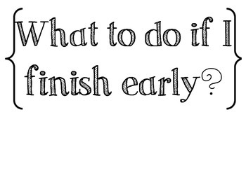 What to do I finished Early... Poster