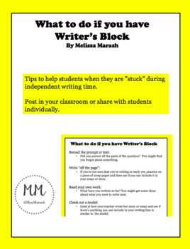 What to do if you have Writer's Block (Printable)