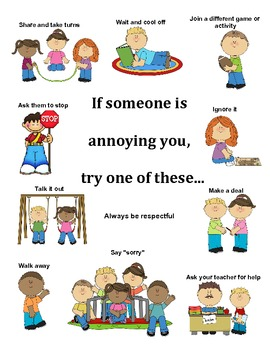 What to do when someone is annoying you/ Conflict Resolution Poster