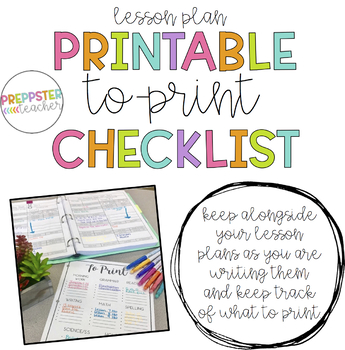 What to Print Checklist