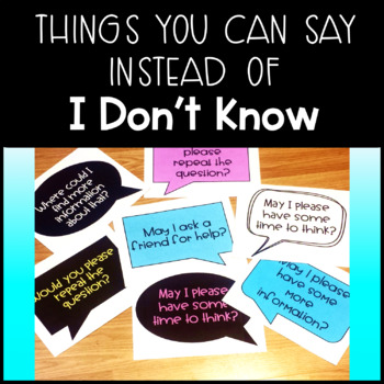 """What to say Instead of """"I don't Know"""" - Accountable Talk Classroom Posters"""