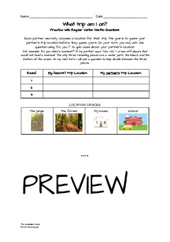 What trip am I on? Question Formation Notes, Activity, Assessment