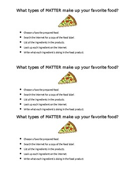 What types of MATTER make up your favorite food?