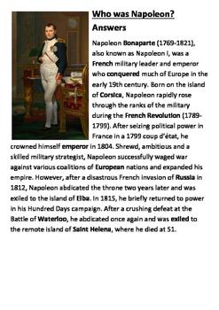 What was Napoleon Cloze Activity