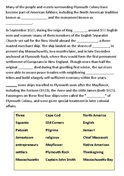 What was Plymouth Colony Cloze Activity