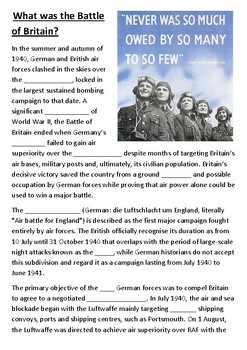 What was the Battle of Britain Cloze Activity